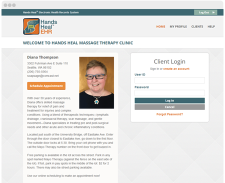 Example of Massage Therapist personalized homepage